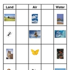 Animals: Land, Air, and Water Sort