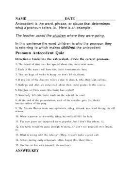 Antecedent worksheet or quiz with answer key