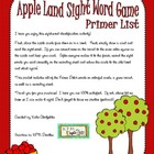 Apple Land Sight Word Game-Primer List