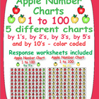 Apple Number Charts - 1 to 100 - 5 different color coded a