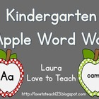 Apple Themed Kindergarten Word Wall