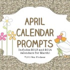 April Calendar Writing Prompts - Calendar Journal Prompts