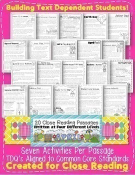 April Close Reading Passages for Text Evidence w/ CCSS Aligned Tdq's