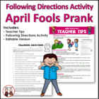 April Fools Day Reading Directions Activity: Prank Your Students!
