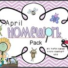 April Homework Pack for Kindergarten
