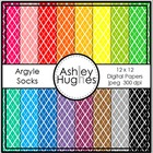 Argyle Socks 1 {12x12 Digital Papers for Commercial Use}