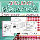 Articulation Placemats: Homework Sheets and Drill Activities
