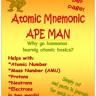 Atom APE MAN Atomic Mnemonic for Protons, Neutrons, & Electrons