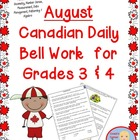 August Canadian Bell Work for Grade 3 and 4