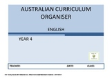 Australian Curriculum Organiser English - Y4  FREE VERSION