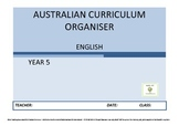 Australian Curriculum Organiser English - Y5 FREE VERSION