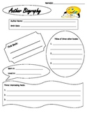 Author Biography Research Organizer Guide Sheet with Citat