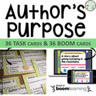 Author's Purpose Task Cards, Scoot Game, Assessment, Multi