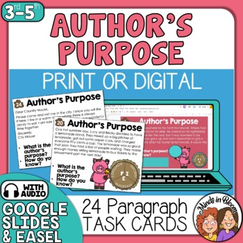 Author's Purpose Task Cards: 24 Cards: Persuade, Inform & Entertain