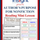 Author's Purpose for Nonfiction Mini Lesson w/ Hands On Activity