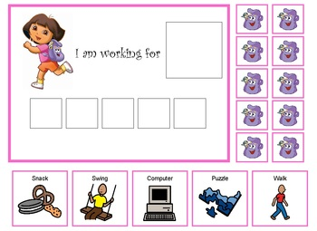 Autism:  Dora the Explorer token board