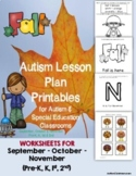 Thanksgiving Autism Lesson Plan Printables for Autism Supp