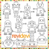 Awesome Robot clip art (digital stamps, coloring graphics) S060