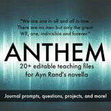 Ayn Rand's Anthem Unit Handouts, Projects, and Journals - REVISED