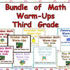 BUNDLE of Monthly Sets of Math Warm-Ups- Third Grade Commo