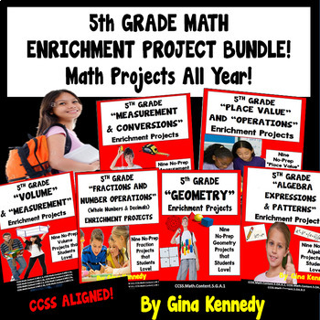 BUNDLED! 54 5th Grade Common Core Math Projects To Use All Year! All Standards!