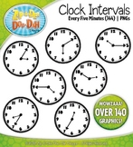 Clock Face Intervals Clip Art — Every 5 Minutes / Over 140