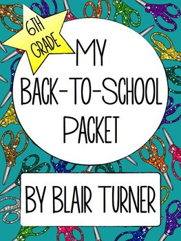 Back-To-School Activity Packet - 6th Grade
