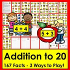 Addition Facts to 18 Review Activities-4 Ways to Play-CCSS