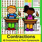 Contractions Literacy Centers-4 Sets-48 Pairs-Common Core