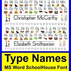 Back To School Desk Name Plates-MS Word Schoolhouse Font-T