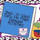 Back To School Early Language File Folder Activities!