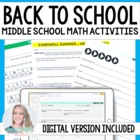 Back To School Resources for Middle School Math
