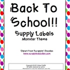 Back To School Supply Labels: Monsters Theme