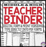 Back To School Teacher Binder For Middle High - Grey and R