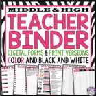 Back To School Teacher Binder For Middle & High- Black & P