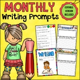 Monthly Writing Prompts {self-evaluation editable file included!}