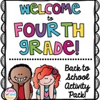 Back to School Activity Packet : Welcome to 4th Grade