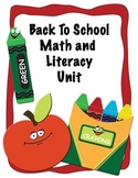 Back to School Common Core Literacy & Math Unit