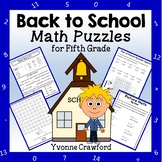 Back to School Common Core Math Puzzles - 5th Grade