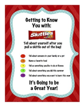 BACK TO SCHOOL: GETTING TO KNOW YOU WITH SKITTLES ...