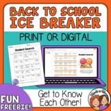 Back to School Ice Breaker: Student Search for grades 4-6+