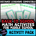 Back to School Math Activities for Middle School