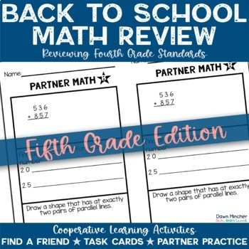 Back to School: Math Review of Grade 4 Concepts for 5th Graders - CCSS Aligned