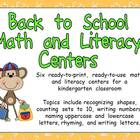 Back to School Math and Literacy Centers- Kindergarten