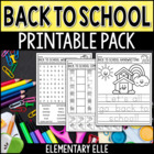 Back to School Math and Literacy Printable Pack