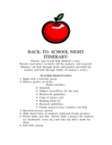 Back to School Night Itinerary