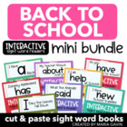 Back to School Pack of Interactive Sight Word Readers