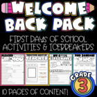 Back to School Packet: Welcome to 3rd Grade