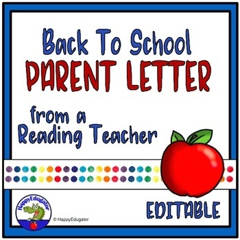 Back to School Parent Letter from Reading Teacher