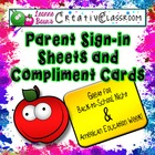 Back to School Parent Sign In Sheets and Compliment Cards